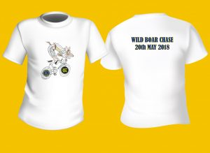 A photo showing Wild Boar Chase T Shirt 2018 - Front and BACK.