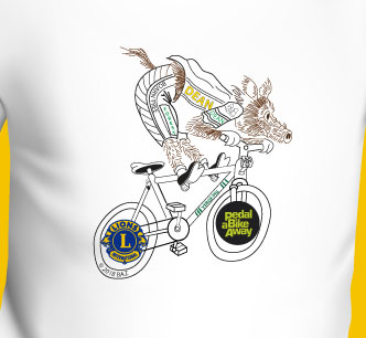 A photo of the Wild Boar Chase T Shirt 2018 - Boar on a Bike logo by BAZ on a white background.