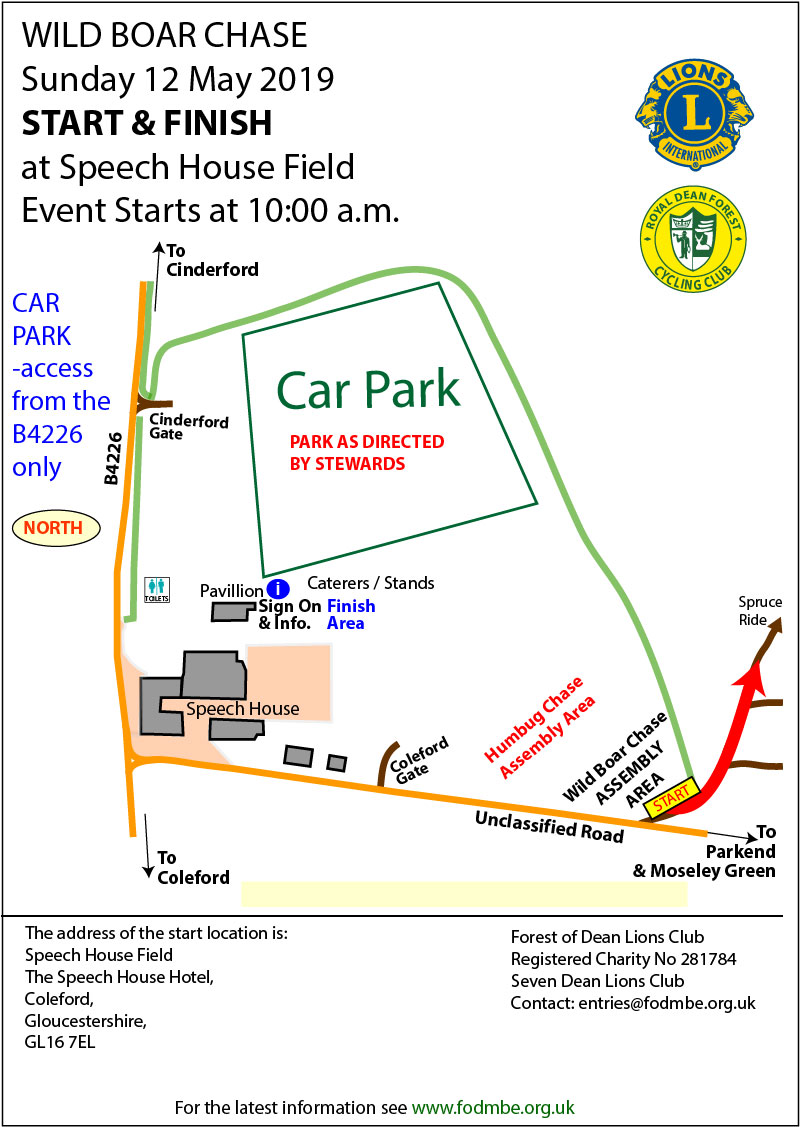 Map showing Car Parking, Signing on, Start Location