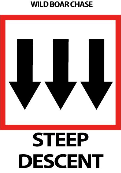 A steep descent sign