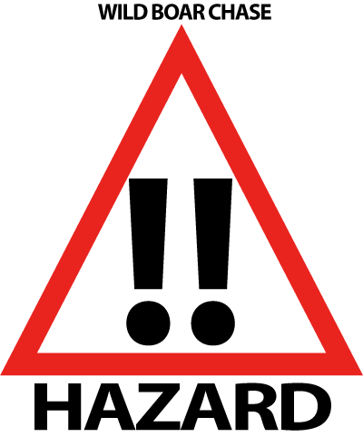 A hazard sign for the Wild Boar Chase