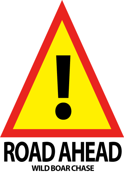 A road ahead sign for the Wild Boar Chase